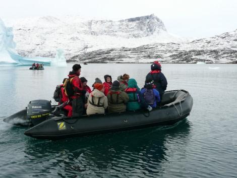 Zodiac cruising in the Arctic
