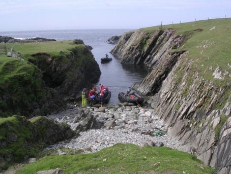 Zodiac landing at Fair Isle