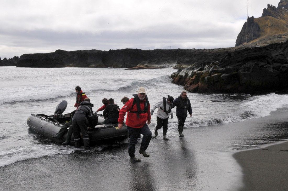 Landing on Jan Mayen after a Zodiac cruise