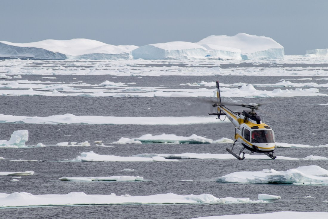 Helicopter flight above the Ross Sea