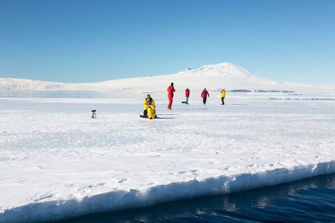 Walking on the ice in the Ross Sea