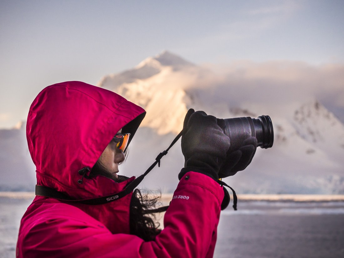 Passenger with a camera in Antarctica