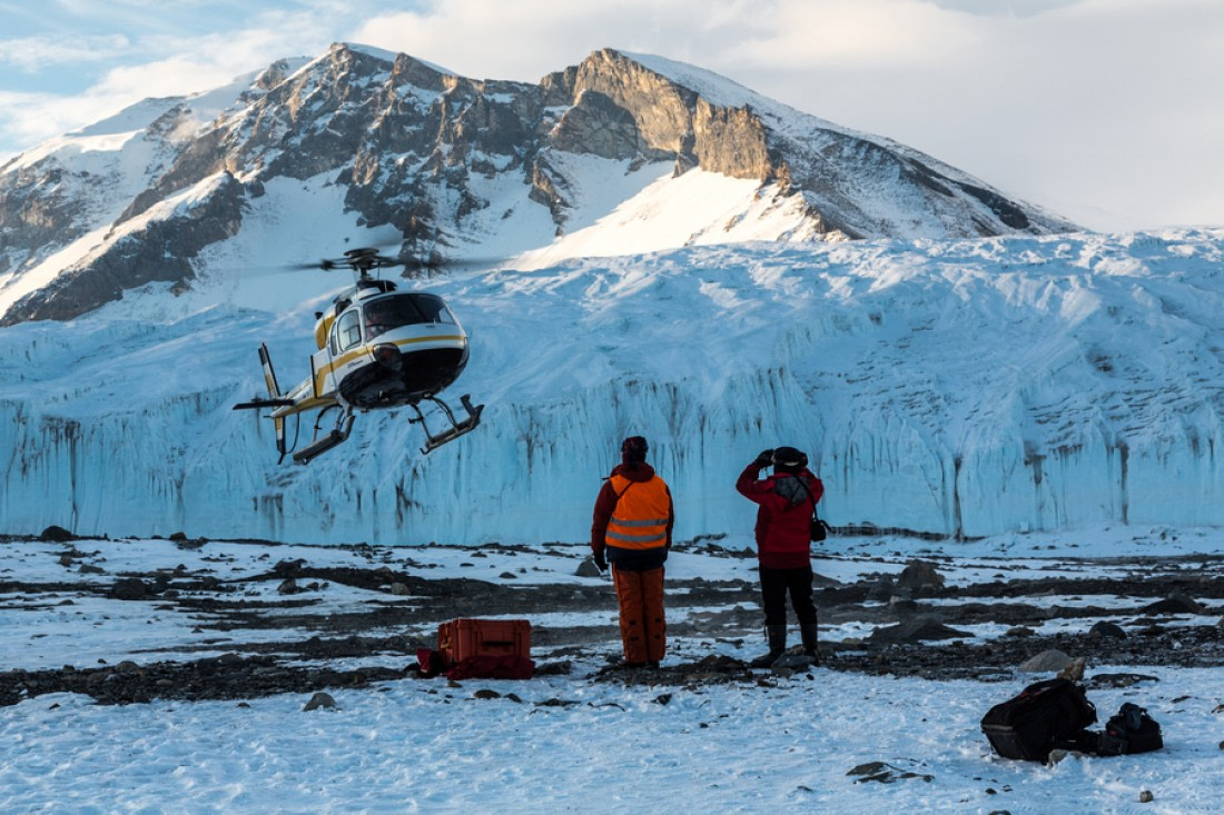 Landing helicopter at the McMurdo Dry Valleys in the Ross Sea