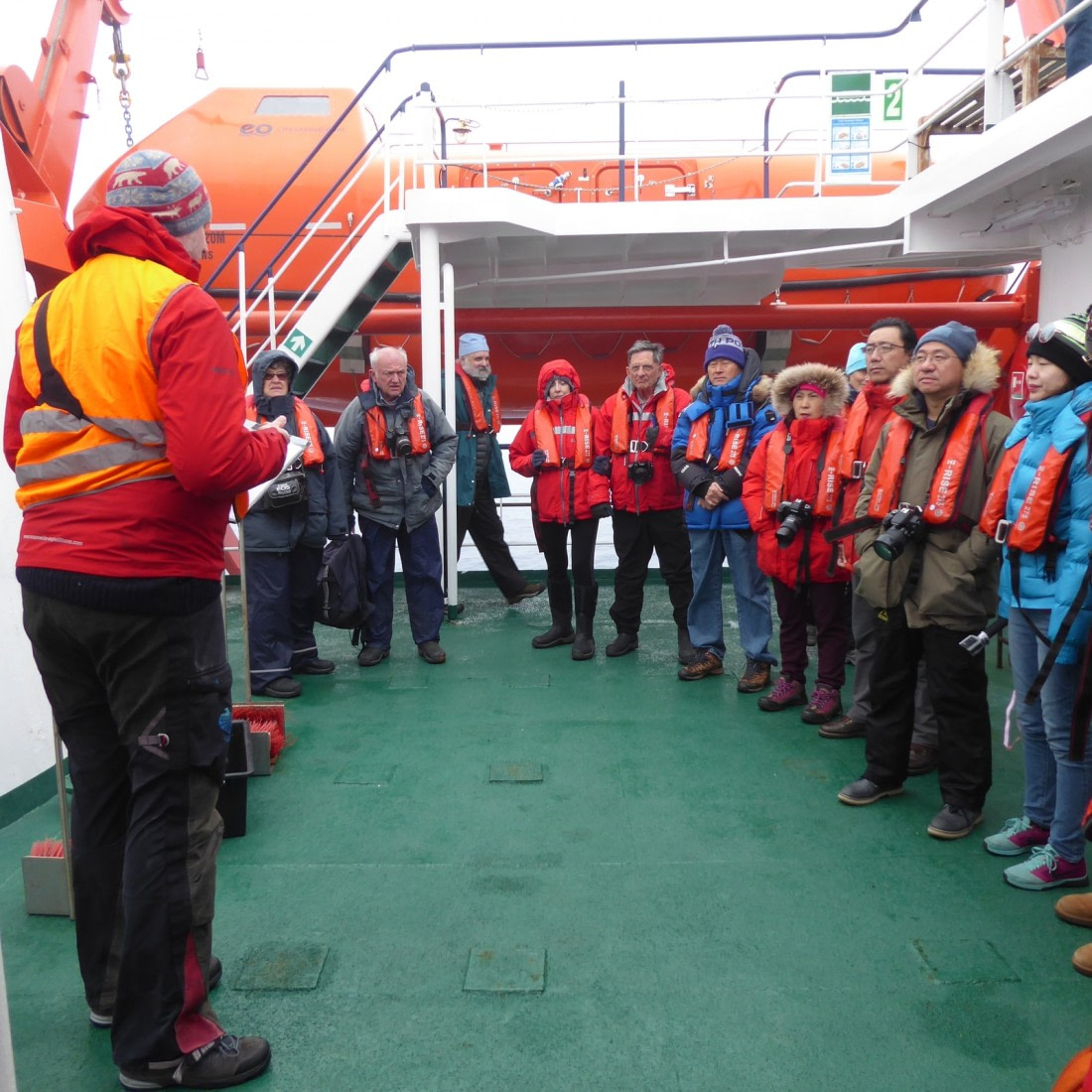 Helicopter briefing on deck
