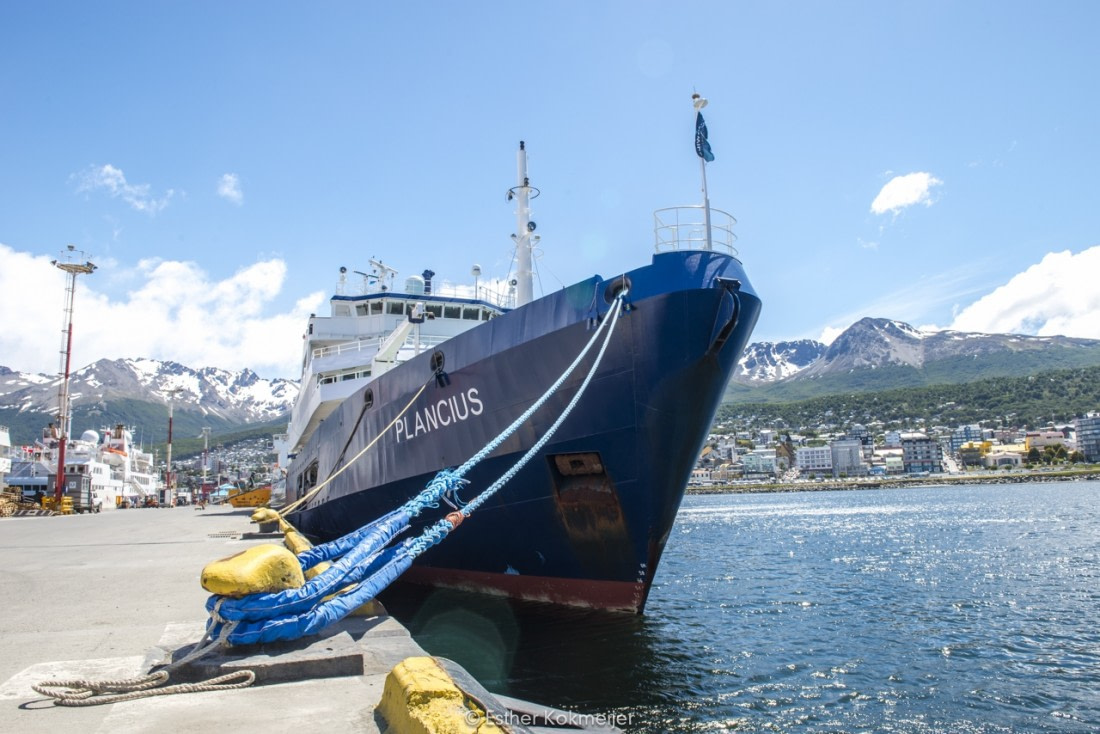Plancius at the pier of Ushuaia, Argentina