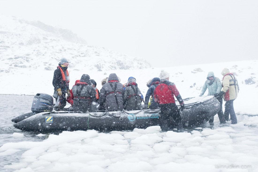 Passengers in Zodiac arriving at Horseshoe Island