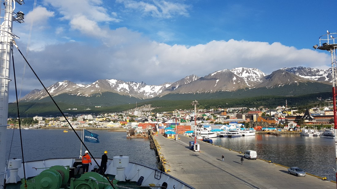Ortelius at the pier of Ushuaia, Argentina