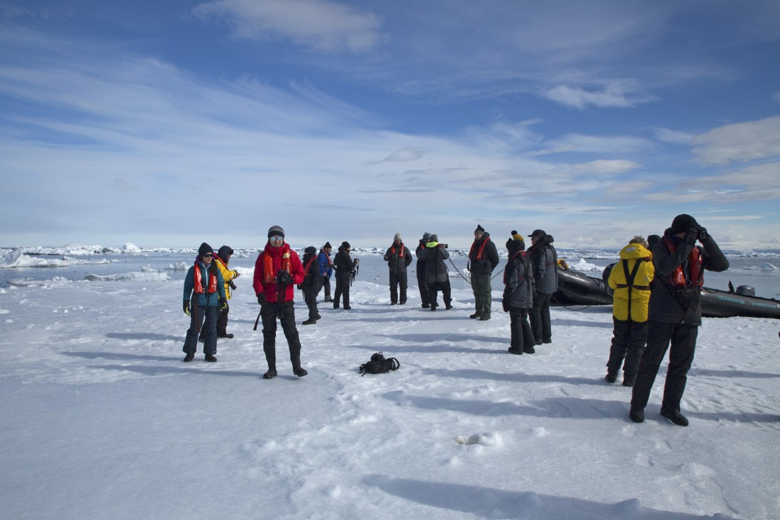 Passengers walking on the ice in the Weddell Sea