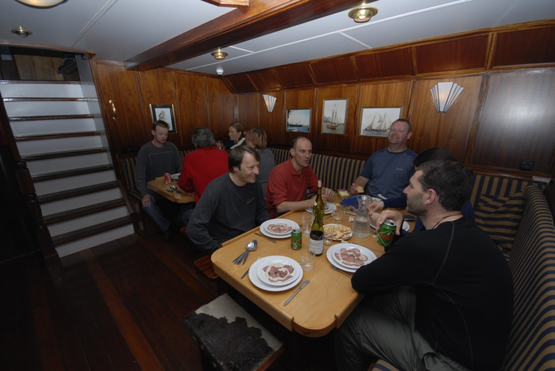 Cozy dining onboard