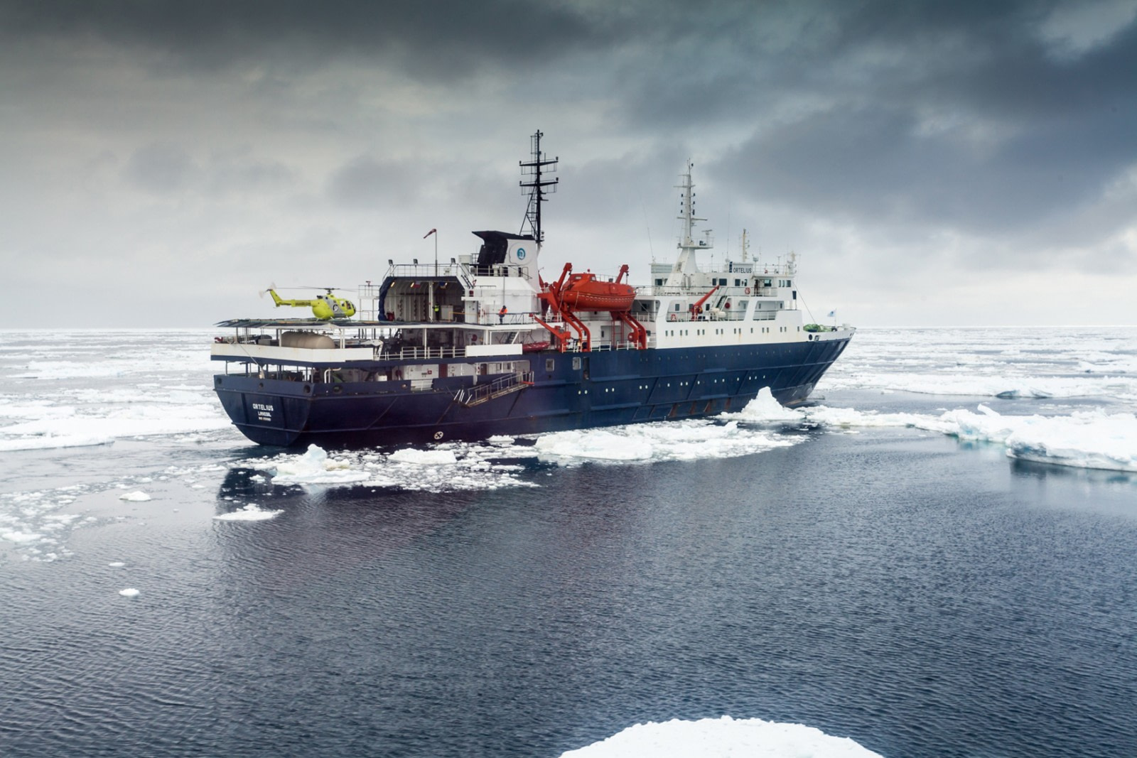 Ortelius with Helicopter, Ross Sea