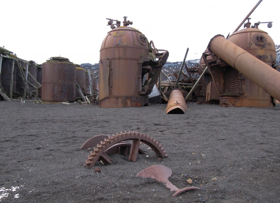 Rusty old remains of the whaling station boilers on Whalers Bay, Deception Island