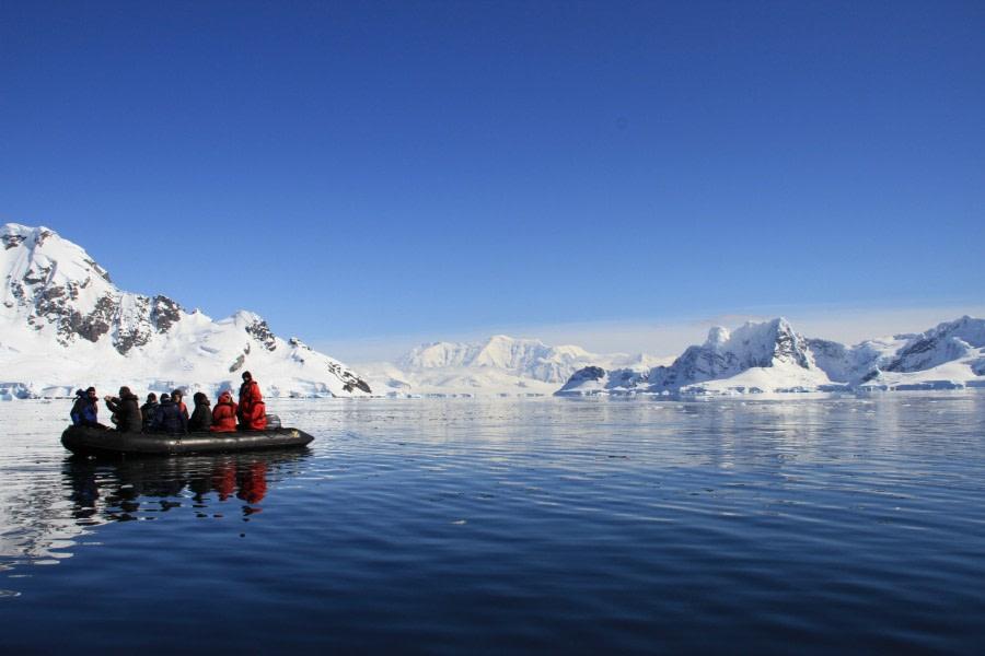 Zodiac cruising in the Antarctic