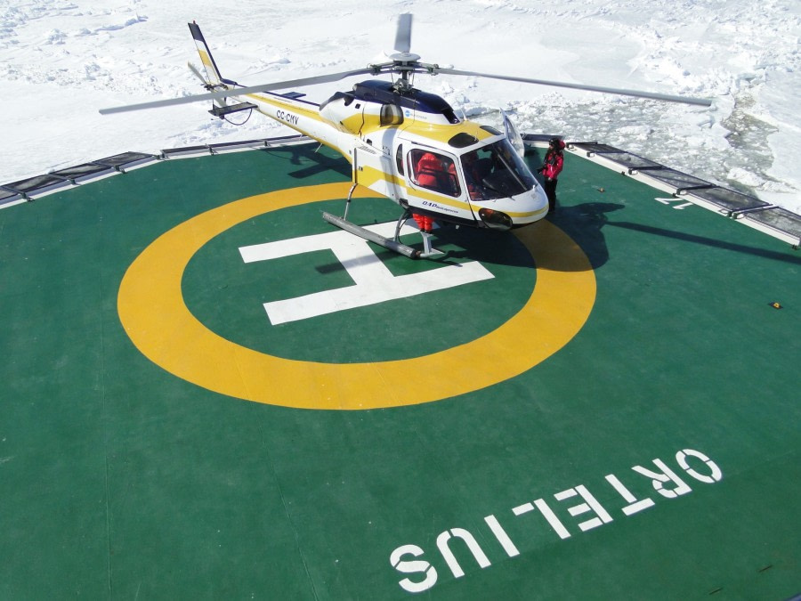 Helicopter on board m/v Ortelius