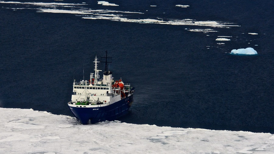 M/V Ortelius from helicopter