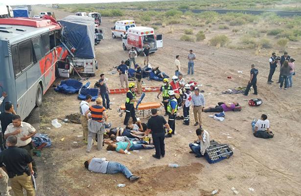 Choque de camión, 29 heridos y 10 muertos