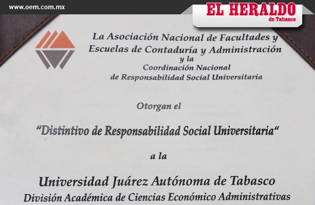 Universidad de Tabasco recibe el distintivo Anfeca de Responsabilidad Social