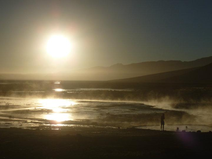 Hot springs in sunrise