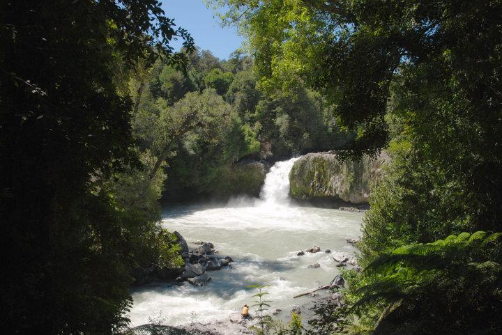 Salta del Indio in Puyehue National Park, rivier vol as