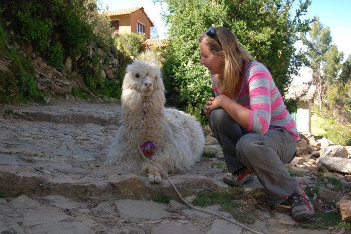 Isla del Sol, Anneke op de foto met een lama