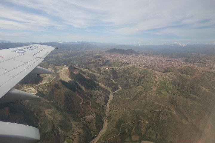 Uitzicht tussen Sucre en Santa Cruz