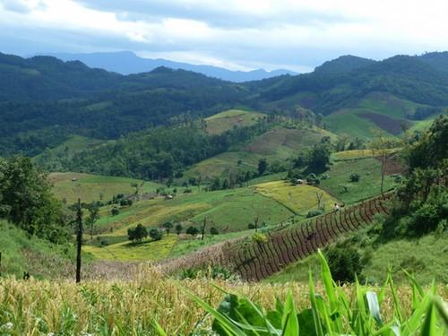 Uitzicht over de binnenlanden van Thailand
