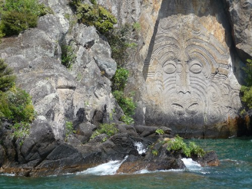 Maori rock carvings lake taupo jenny david s travels