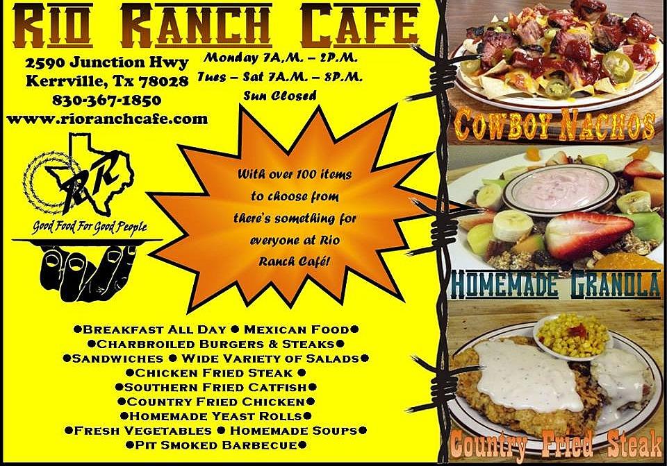 Rio Ranch Cafe Menu Kerrville Tx