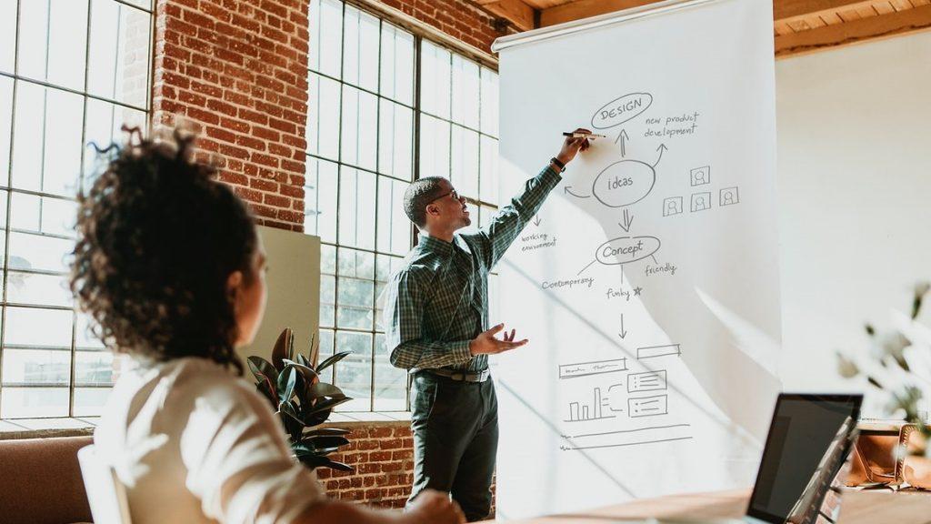 Imagem retrata duas pessoas falando sobre gestão de projetos em um quadro suspenso