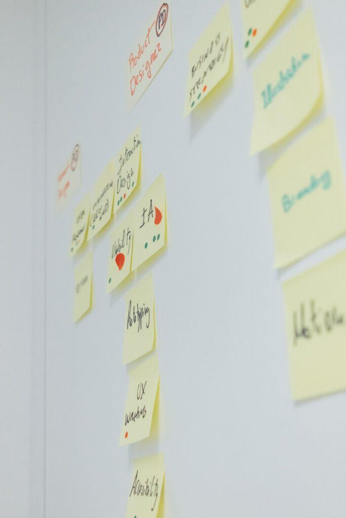 Quadro com adesivos utilizando a metodologia scrum no gerenciamento de projetos.