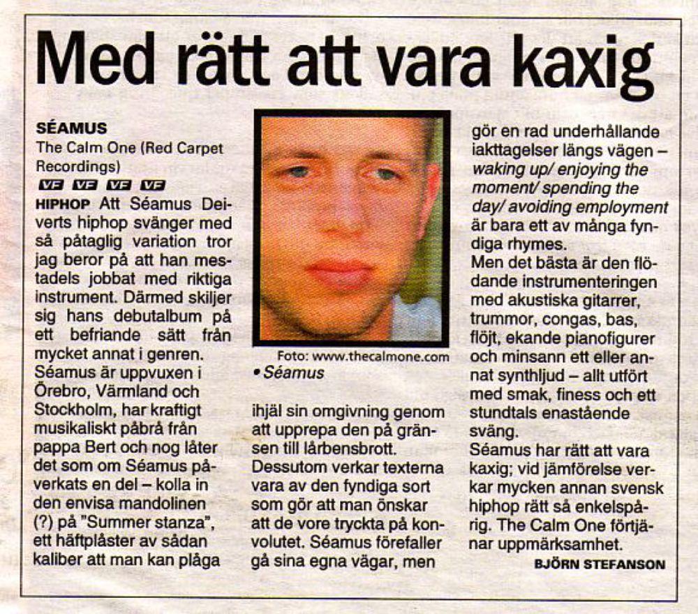 Värmlands Folkblad rescencerar Seámus - TheCalmOne