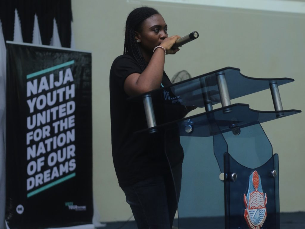 Rosemond Edem, ONE Champion, welcoming participants at the University of Calabar, Cross River State.