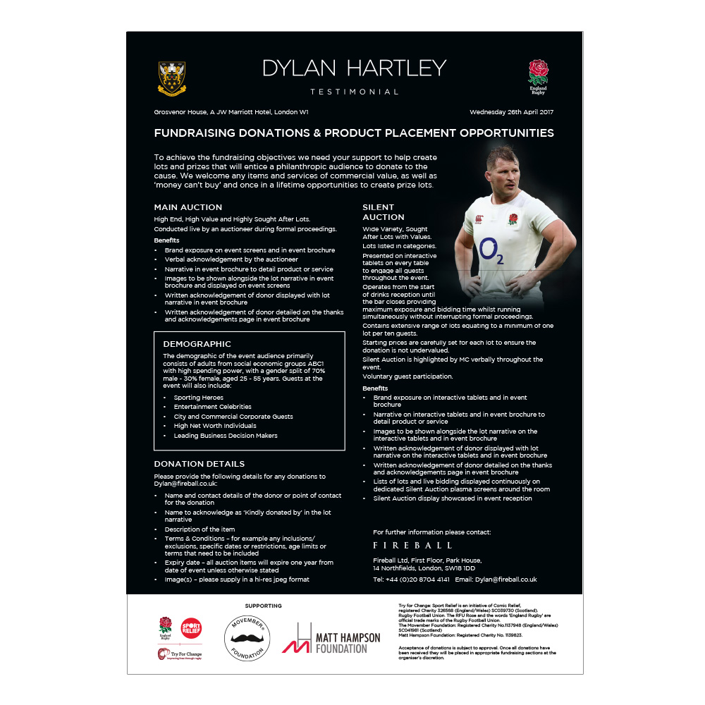 Dylan Hartley Testimonial fundraising