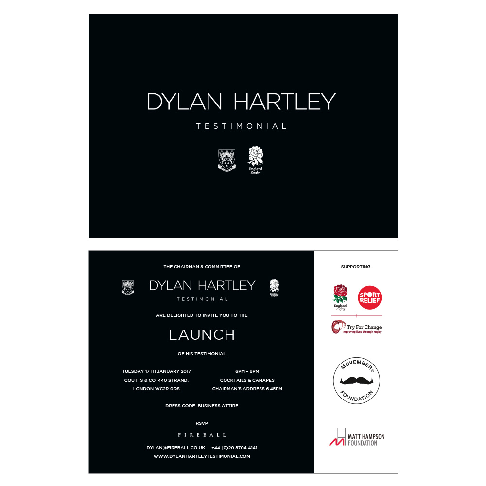 Dylan Hartley Testimonial invitations