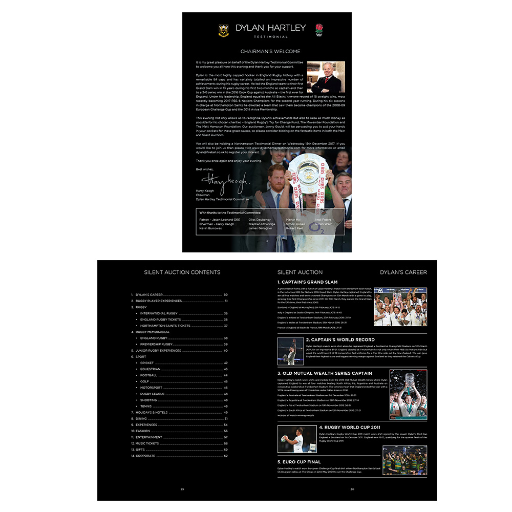 Dylan Hartley Testimonial event brochure