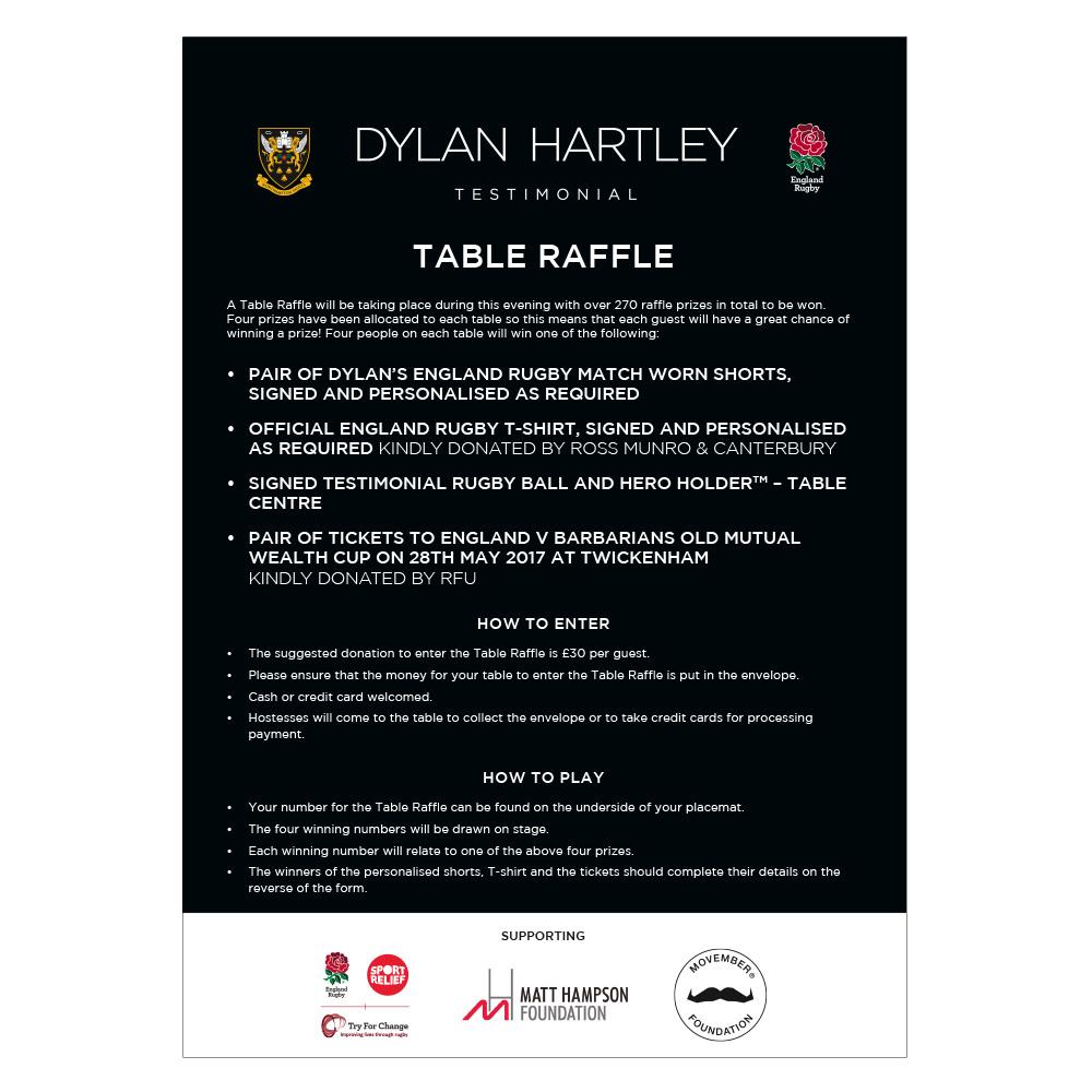 Dylan Hartley Testimonial raffle leaflet
