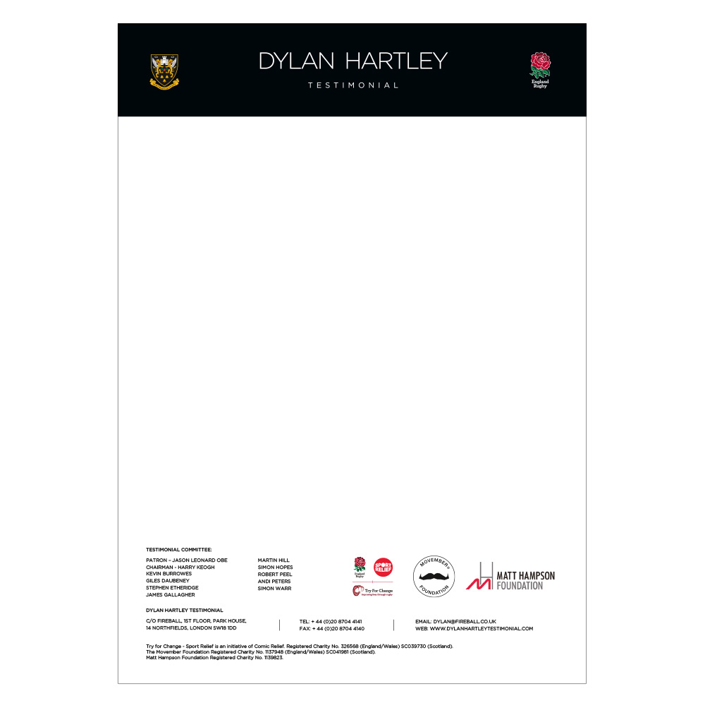 Dylan Hartley Testimonial event stationery