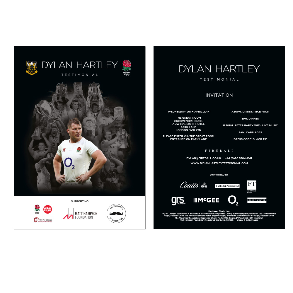 Dylan Hartley Testimonial Invitation
