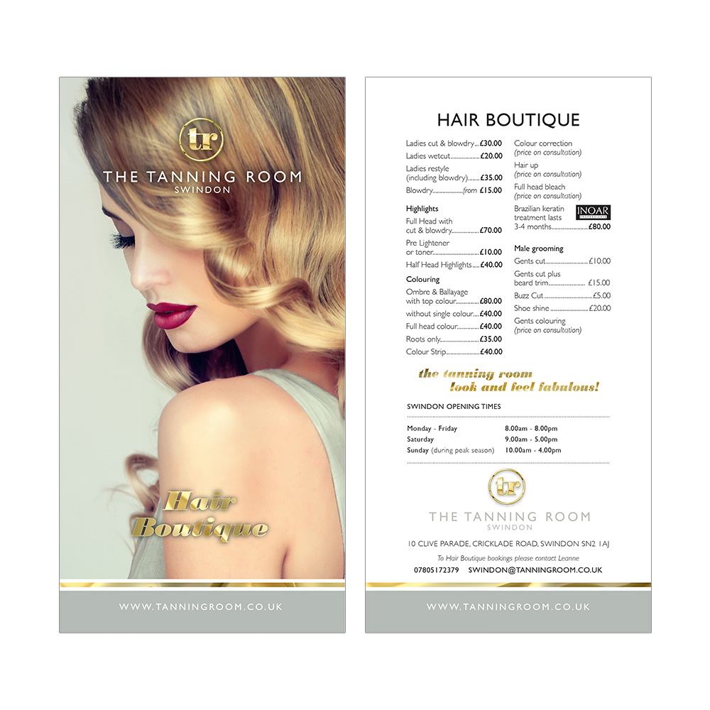 The Tanning Room leaflet