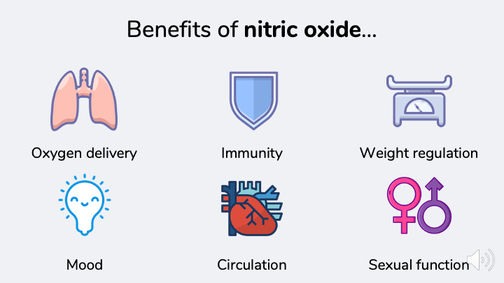 Benefits of nitric oxide.  Improved oxygen delivery, circulation, sexual function, immune function, mood, weight regulation.