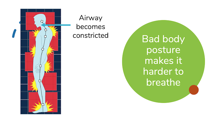 Bad, slouched body posture decreases the amount of air that can travel through the airway.