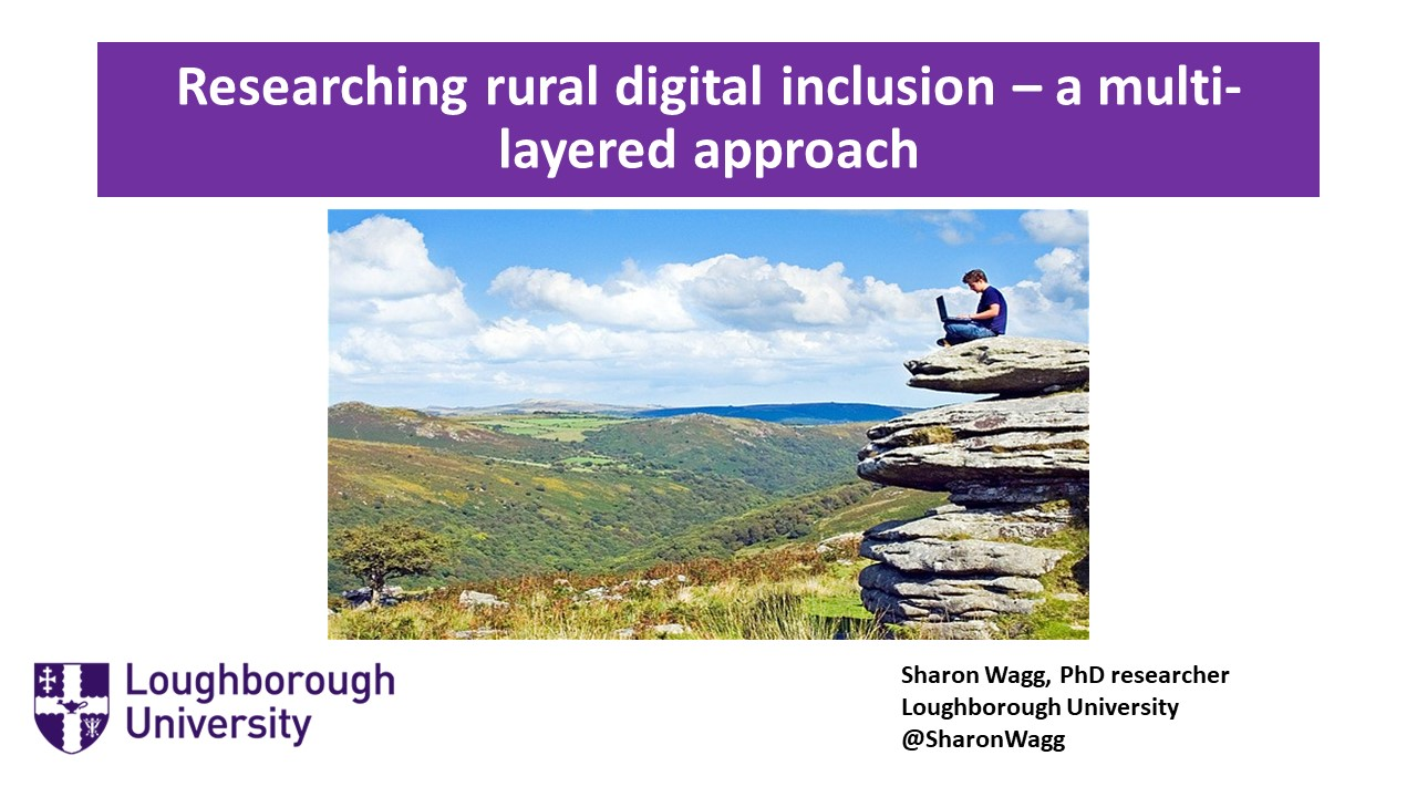 Image: First screen of Presentation showing man sitting on rock stack in rural area