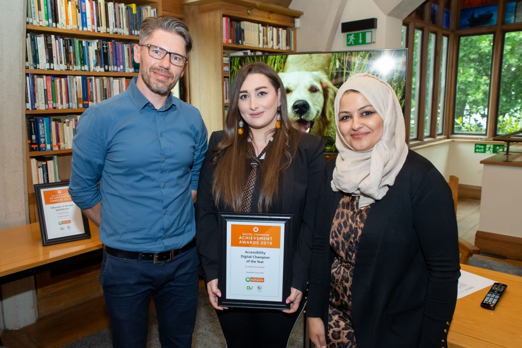 Image: photo of Nissrin Alassaf, a Syrian refugee, recently picked up the Accessibility Digital Champion of the Year award