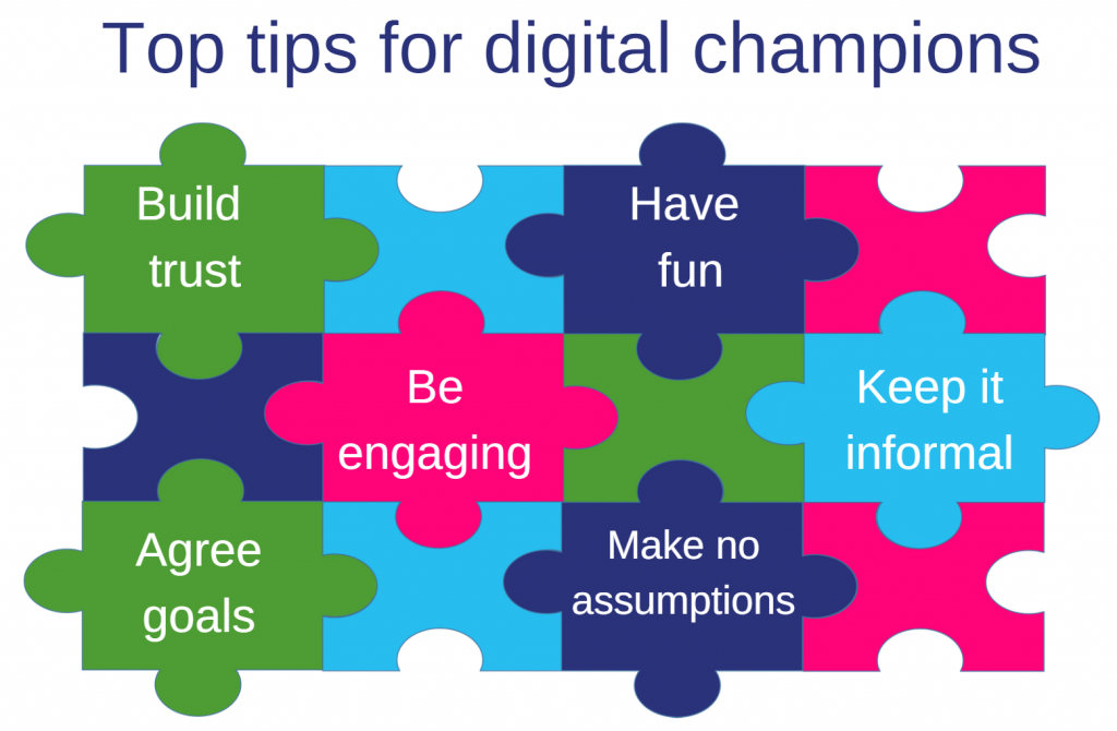Image Title = Top tips for digital champions Image graphic = Jigsaw pieces graphic, with text stating  - Build trust - Have fun - Be engaging - Keep it informal - Agree goals - Make no assumptions