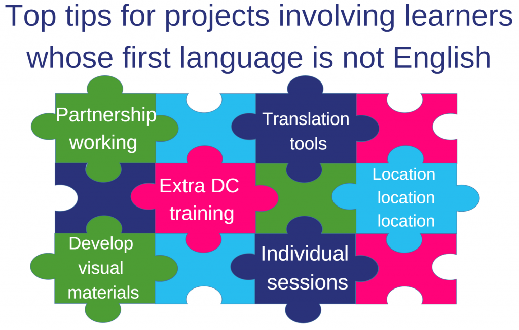 Image: Jigsaw graphic of top tips for projects: Partnership working; Translation tools; Extra DC training; Location location location; Develop visual learning materials; Individual sessions