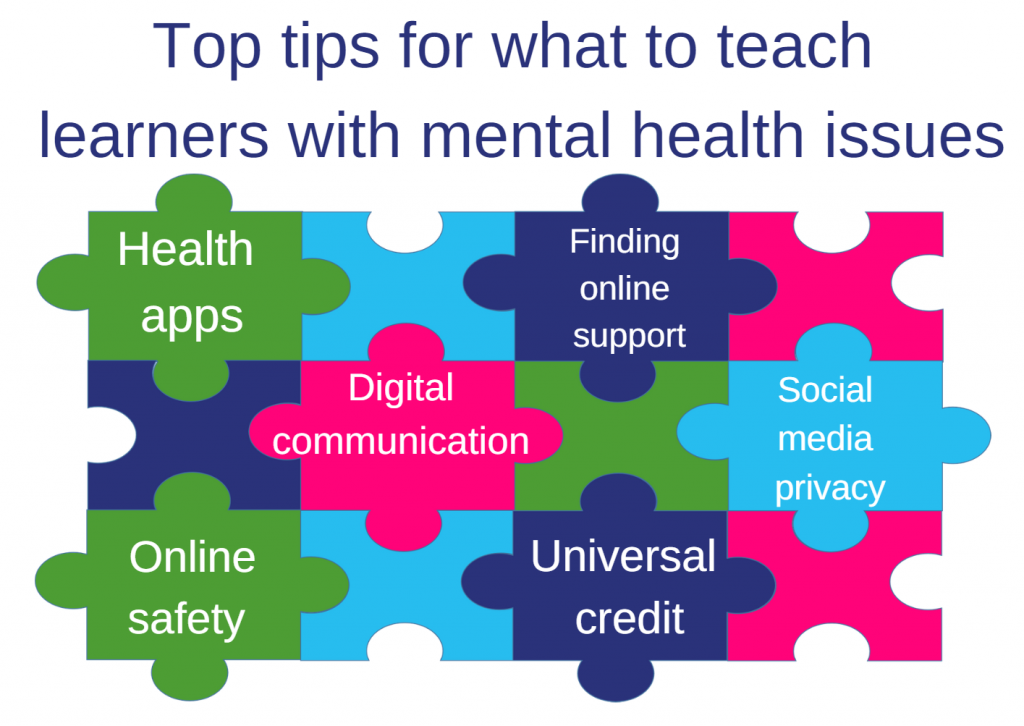 Image: Jigsaw graphic with top tips of what to teach: Health apps; Finding online support; Digital communication; Social media privacy; Online safety; Universal credit