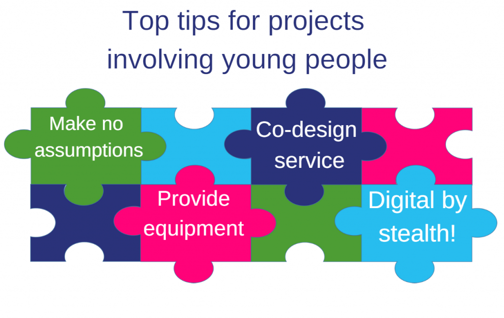 Image Title = Top tips for projects involving young people. Image graphic = Jigsaw pieces graphic, with text stating - Make no assumptions - Co-design service with young people - Provide equipment - Use activities/ digital by stealth