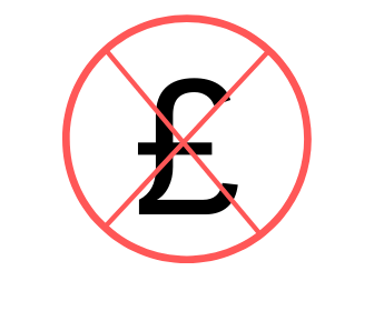 Image : Red circular wanring sign with £ symbol inside crossed out in red