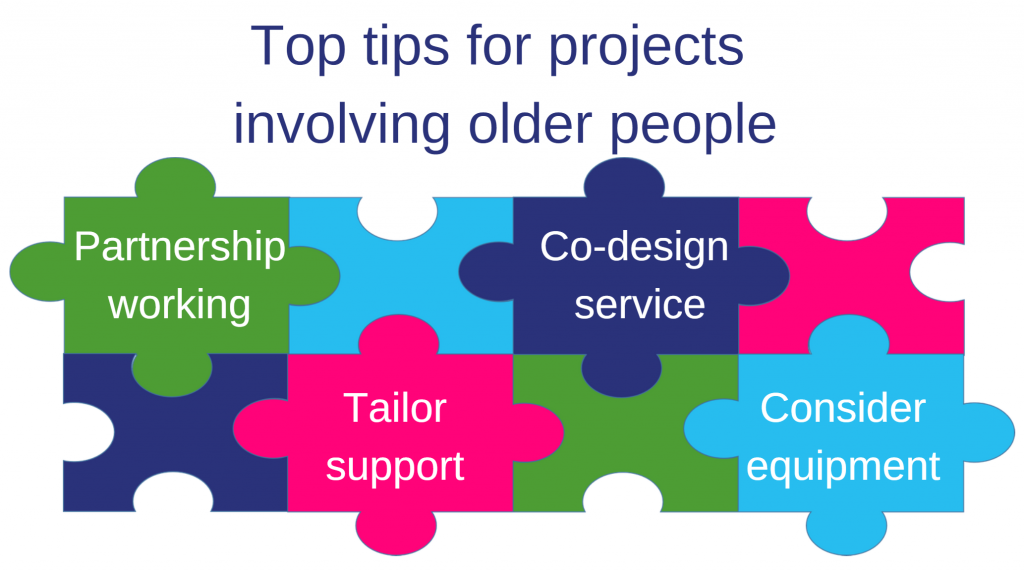 Image : Jigsaw graphic with top tips for projects : Partnership working; Co-design service with older people; Tailor support; Consider equipment