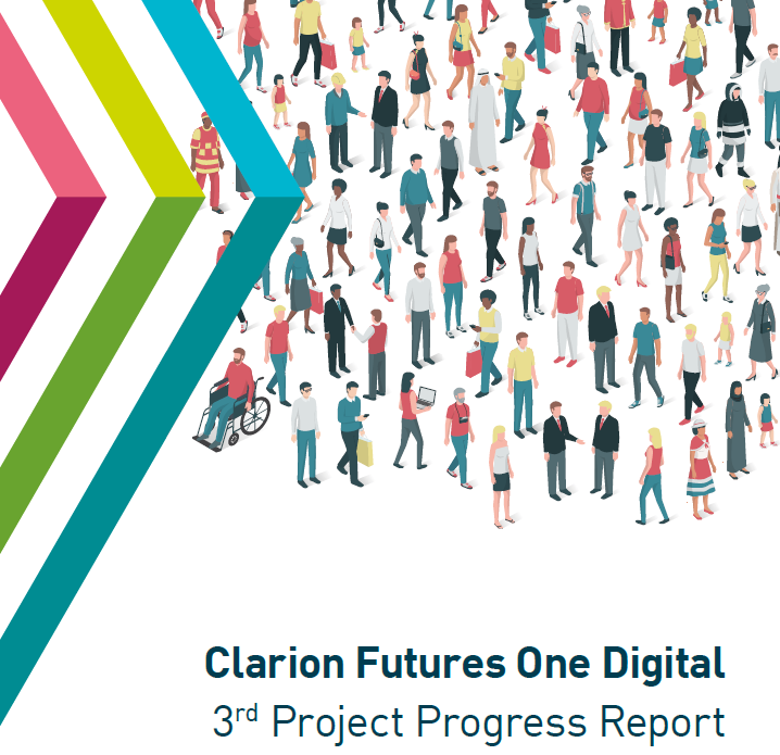 Image: Front page of report with Clarion Futures logo and a graphical representation of a diverse range of different people