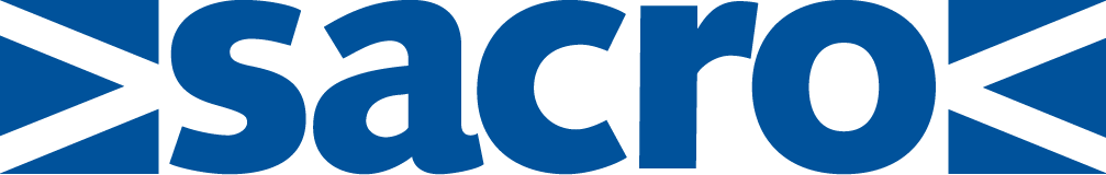 SACRO logo - name in blue with Scotland flag split on either side